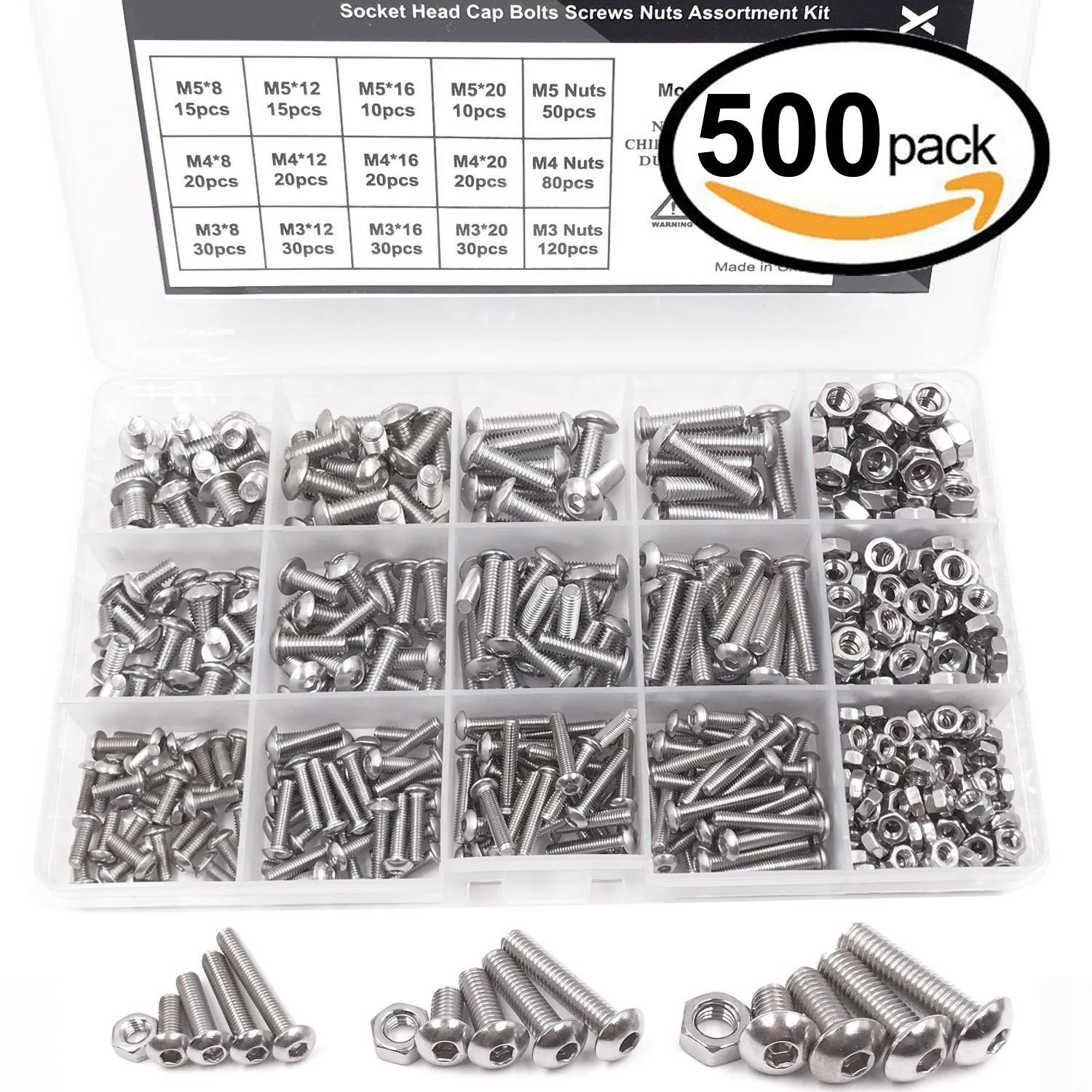 500 pcs M6 Assorted Bolts Nuts Screws /& Washers Kit A2 Stainless Steel Din 933