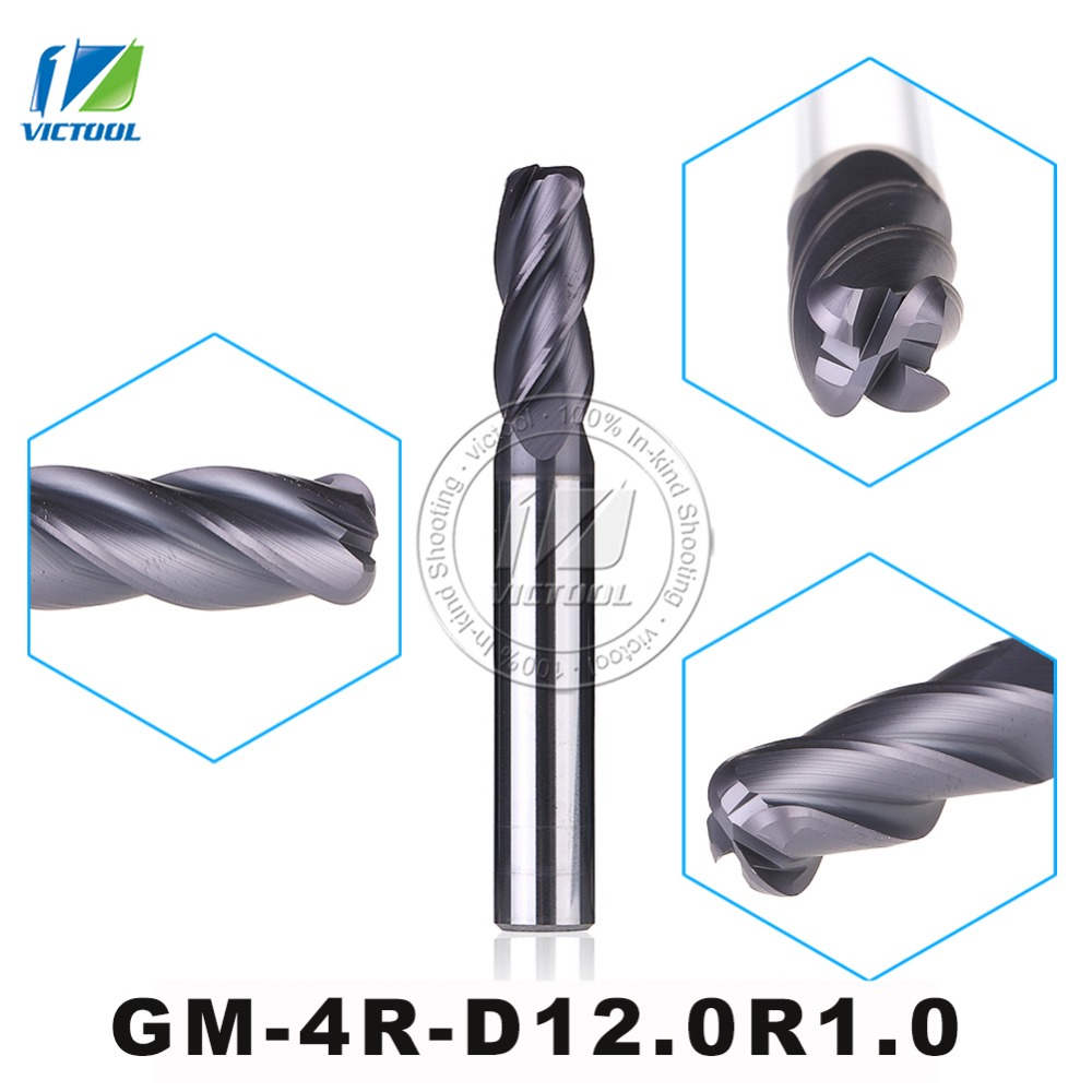 GM-4R-D12.0R1.0 Cemented Solid Carbide End Mills 4-Flute R End Mill Straight Shank Milling Cutter Metal Drill Bits Cutting Tools