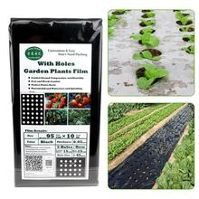 95CM*10M Garden Vegetable Black Film Agricultural Plant Plastic Film Perforated PE Film 5 Holes 0.03MM Easy to Use and Save Time