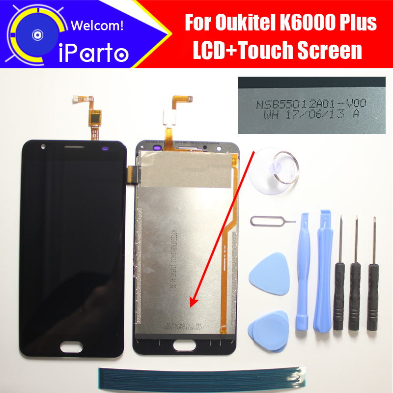 Oukitel K6000 Plus LCD Display+TouchScreen NSB55012A01 V00 100% Original Tested Digitizer Glass Panel Replacement For K6000 Plus