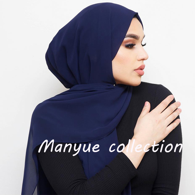 Women Plain Bubble Chiffon Hijab Scarf Head Wraps Solid Shawls Headband Soft Long Muslim Head Scarf Georgette Scarves Hijabs(China)