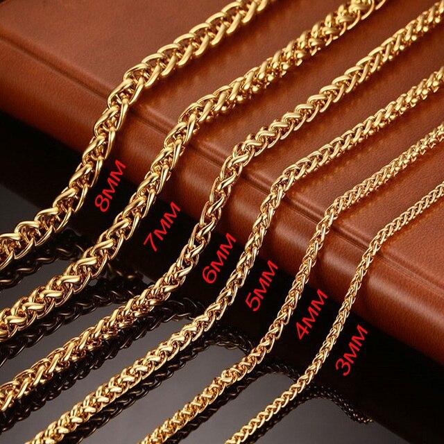 436625502f2 Collier de chaîne à maillons de blé carrés d excellence en acier inoxydable pour  hommes