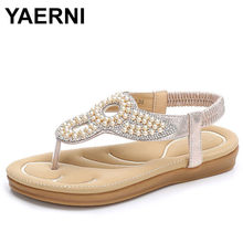 YAERNI Summer New Fashion Europe And The United States Bohemia Women Sandals Flat With Wear Women Sandals Summer Party Shoes(China)