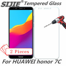 2pcs Tempered Glass For HUAWEI honor 7C honor7C 7 C PRO 5.7 inch screen protective smartphone toughened cover case 9H on