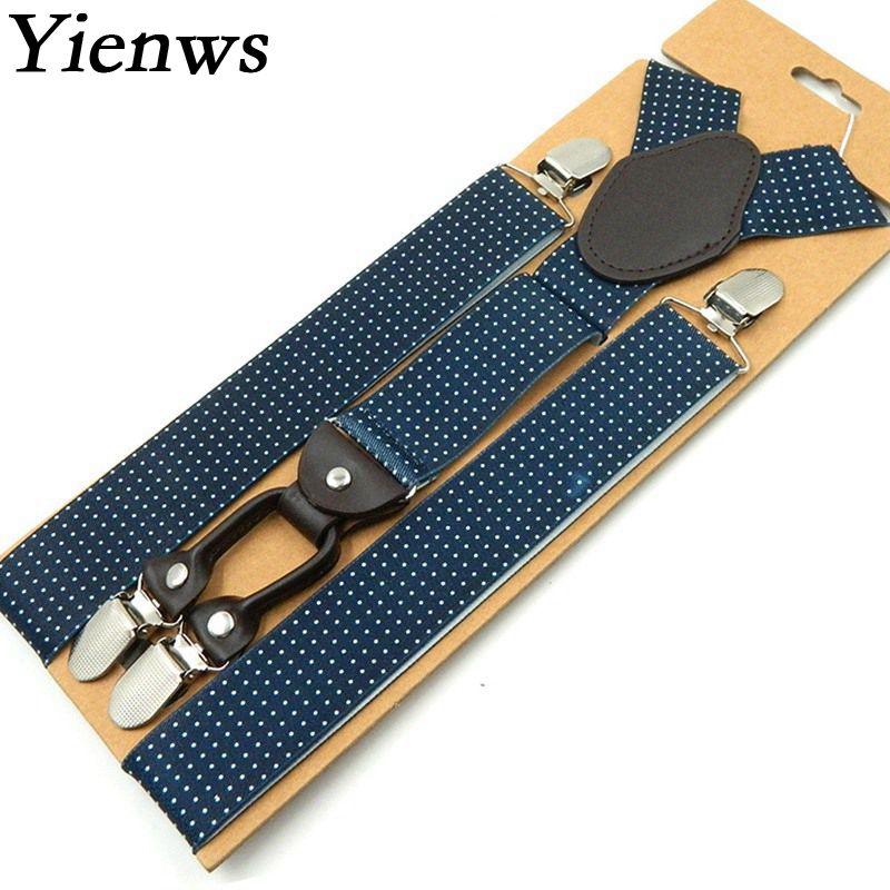 Yienws Braces Mens Suspenders Fashion Print Jartiyer Men Blue Dot Leather Suspender 4 Clip Button Pant Suspensorio YiA008