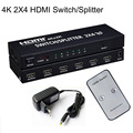 2x4 HDMI Splitter HDMI 1.4b Matriz de Conmutación HDMI Audio Video Converter Adaptador Splitter Soporta 3D 1080 p 4 K Con EU/AU/UK/Enchufe de EE.UU.