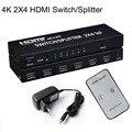 2x4 HDMI Splitter HDMI 1.4b Splitter Матричный Коммутатор HDMI Audio Video Converter Адаптер Поддержка 3D 1080 P 4 К С ЕС/АС/ВЕЛИКОБРИТАНИЯ/США Plug