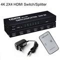 2x4 HDMI Switch Matrix Splitter HDMI 1.4b Splitter HDMI Conversor De Áudio e Vídeo Adaptador Suporte 3D 1080 p 4 K Com EU/AU/UK/EUA Plug