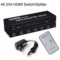 2x4 HDMI Splitter HDMI 1 4b Splitter Switch Matrix HDMI Audio Video Converter Adapter Supports 3D