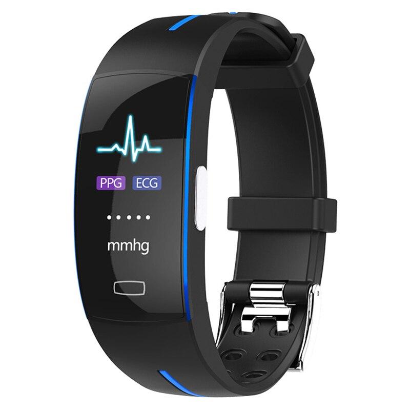 2018 P3Plus tension artérielle poignet bande moniteur de fréquence cardiaque PPG ECG bracelet intelligent Activit fitness tracker bracelet intelligent