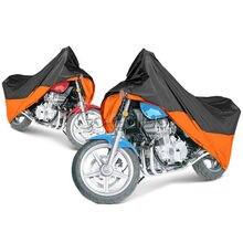 Xl Oranje/Zwarte Motorfiets Waterdichte Motor Outdoor Cover Regen Bescherming Ademend Voor Harley Xl Fxdf Dyna Fat Straat Bob