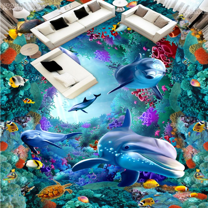 Free Shipping waterproof PVC floor mural 3D Stereo Sea World Dolphin Coral Floor Painting wallpaper mural free shipping custom 3d dolphin octopus shopping mall aquarium waterproof pvc floor wallpaper mural