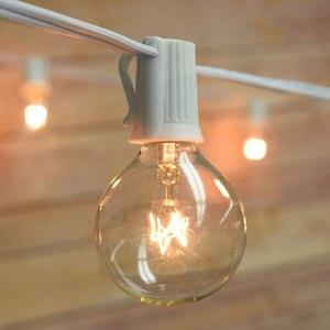 Image 3 - مصباح أوتار حفل الزفاف الأبيض VNL ، مصباح إكليل ديكور للحدائق بتصميم كلاسيكي مع 25 مصباح كرة شفاف للفناء والمظلات المعلقة في الهواء الطلق