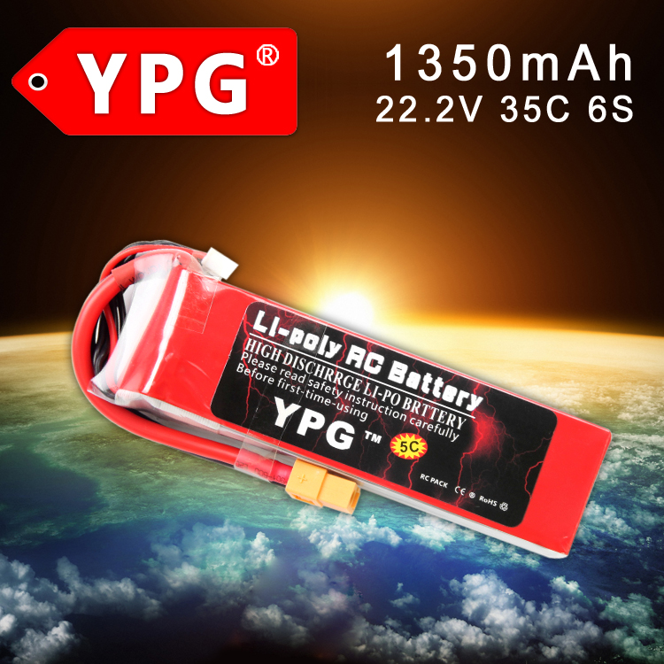 Gartt YPG 22.2V 1350mAh 35C 6S Grade A Lipo Li-poly Battery For 450L RC helicopter wild scorpion rc 18 5v 5500mah 35c li polymer lipo battery helicopter free shipping