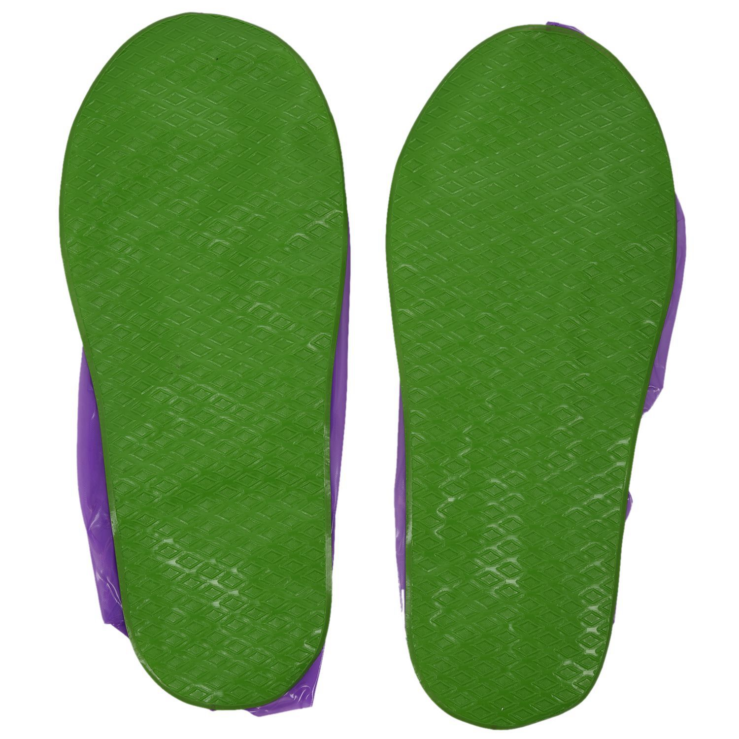 SAFEBET Super waterproof high tube boots cover sets of rain boots color: Green soles purple L