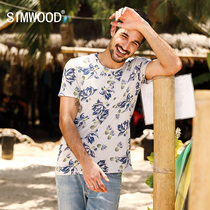 SIMWOOD 2017 Summer New T Shirt Men Floral Hawaiian 100% Pure Cotton Fashion Tops Casual Tees Brand Clothing TD017057