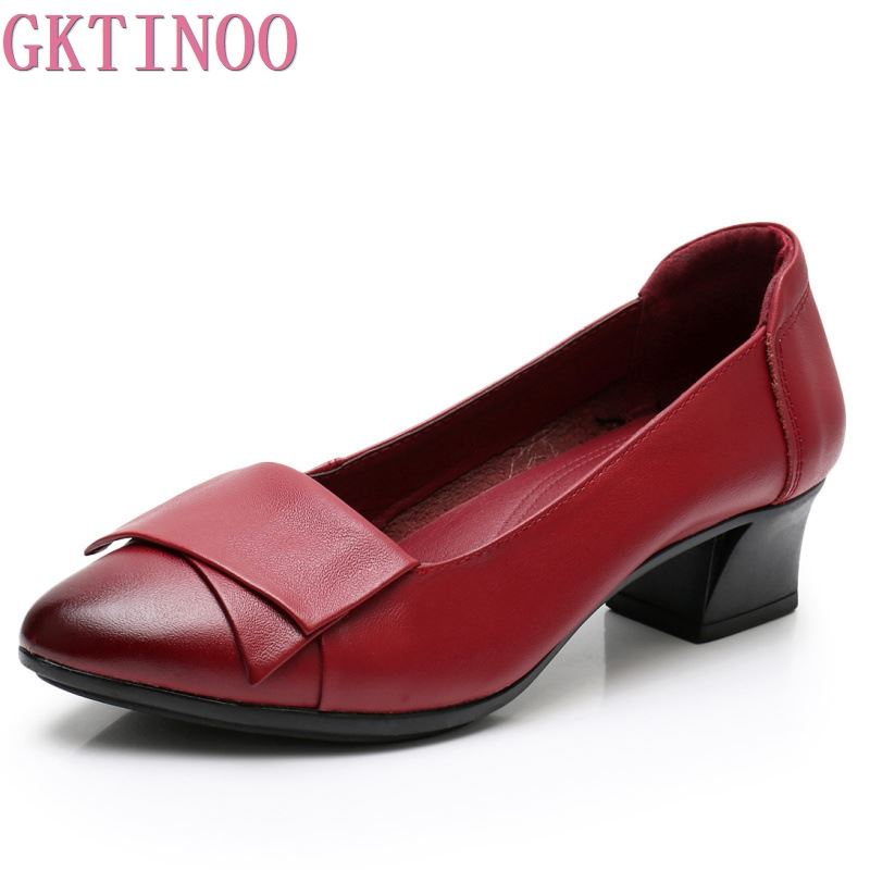 GKTINOO 2019 New Spring Autumn Genuine Leather Women OL Party Shoes Mid Heels Shoes Work Loafer Pointed Toe Female Shoes