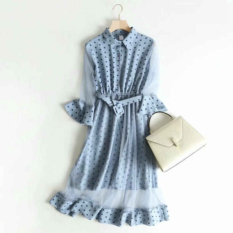 Модное Элегантное винтажное синее Сетчатое платье для женщин, летнее Повседневное платье с отложным воротником и длинным рукавом, женские платья с поясом