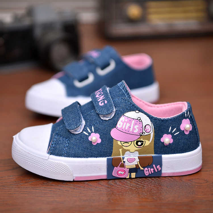 2019 Spring Children Canvas Shoes For Girls Fashion Breathable Sneakers Student Sport Shoes Flat Kids Footwear Baby Casual Shoes