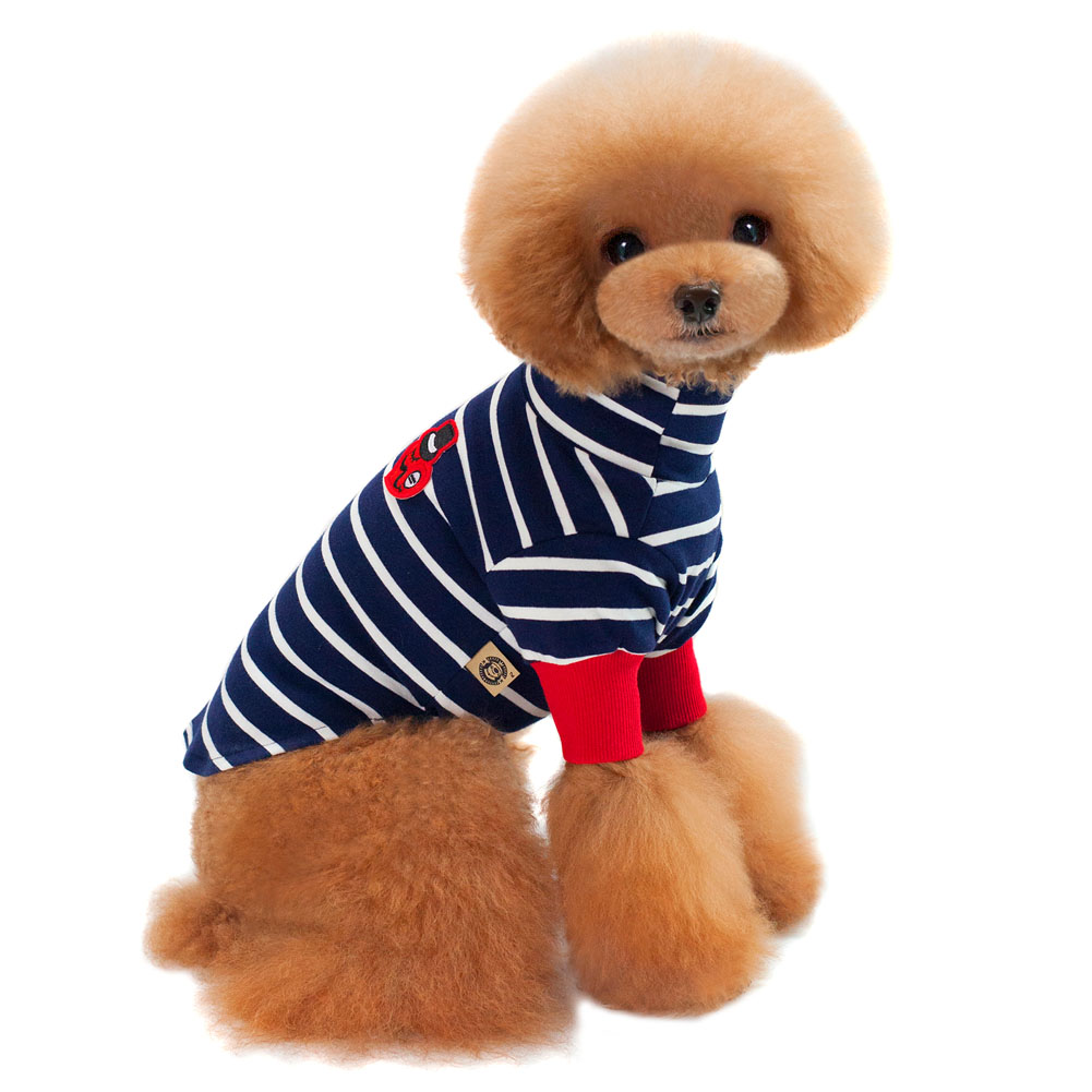 Cute Cartoon Striped Cotton Pet Dog Cat T-shirt Clothes Short Sleeve T-shirts For Teddy Dogs TB Sale