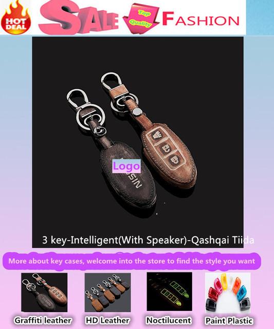 Alta calidad para Qashqai Tiida cubierta de diseño de coches detector remoto de cuero llaves inteligente / plegable Graffiti especial