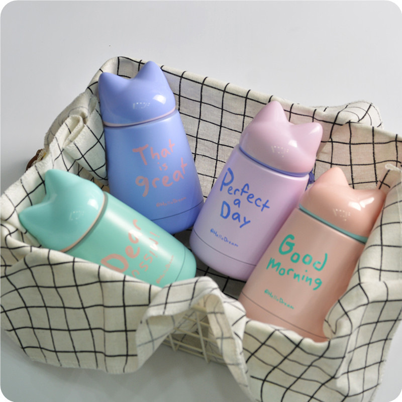 Lovely Fox Design Kids Vacuum Bottle High Quality Portable Thermos Coffee Thermo Mug Child Milk Bottle Water Bottle 300ml in Vacuum Flasks Thermoses from Home Garden