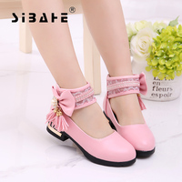 Sbach Children Girls Shoes Leather Party Girls White Shoes High Heel Shoes Kids Pink Black Holiday