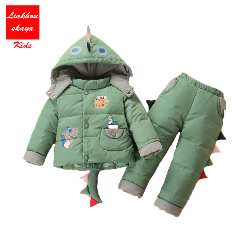 Cartoon Baby Children Boys Girls Winter Earm Down Jacket Suit Set Thick Coat+Jumpsuit Clothes Set Kids Jacket Animal Dinosaur baby down coat set winter warm thick hooded jackets outerwear cartoon down jacket set for boys girls clothes set