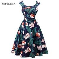 European And American Hepburn Style Retro 2017 Women Dresses Summer Floral Print Dress S XXL MSF094