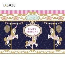 Laeacco Unicorn Carousel Circus Newborn Baby Photography Backdrop Custom Vinyl Photo Background For Photographic Camera Studio