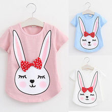 New 2016 Toddler Kids Girls T-shirt Tops Rabbit Print Summer Casual Clothes 2-7Y
