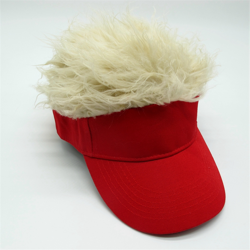 Hot Sale Novelty Baseball Cap Fake Flair Hair Sun Visor Hats Men Women  Toupee Wig Funny Hair Loss Halloween Christmas Cool Gifts 43dd43151425