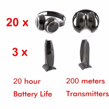 Wireless Silent disco foldable headphones 20pcs with 3 transmitters - RF Silent Disco earphones For MP3 DJ music pary club
