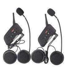 Fodsports 2pc V6 Pro Moto Bluetooth 3 0 Helmet Headset Intercom 6 Riders 1200M Interphone 7