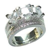Choucong ювелирные изделия Чешский Мода 925 Серебро Три камень квадратный Циркон коктейль свадебные Кольца палец Набор для Для женщин