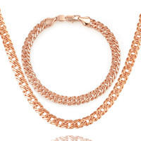 BRZHA Brands Fashion Jewelry Set 2017 Men S Jewelry Plated Rose Gold 6mm Wide Snake Chain