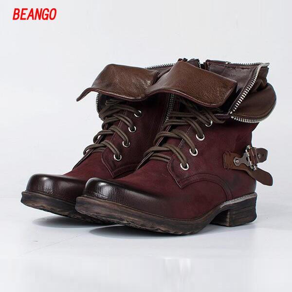 BEANGO New Fashion Genuine Leather Ankle Boots Women Autumn Winter Martin Boots Increased Thick Heel Lace Up Rivets Shoes Woman
