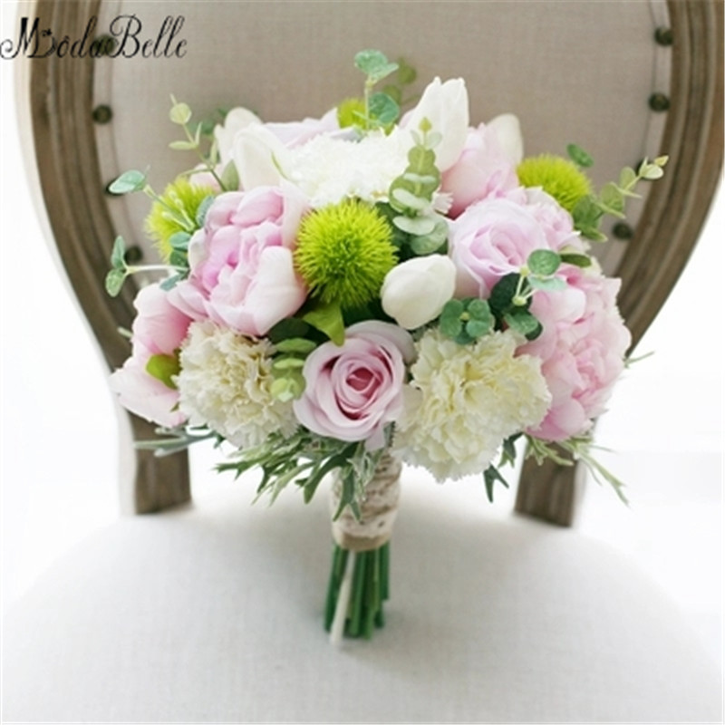√modabelle Artificial Flower Wedding Bouquet Green Pink Peony Rose ...