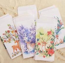 5pcs/lot Deer White Craft Paper Envelopes for Card Wedding Invitation Photo Storage Christmas Gift Free Shipping
