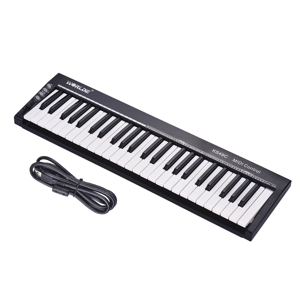 WORLDE MIDI Keyboard Controller Ultra-Portable 49-Key USB With 6.35mm Pedal Jack MIDI Out Musical Keyboard Instrument