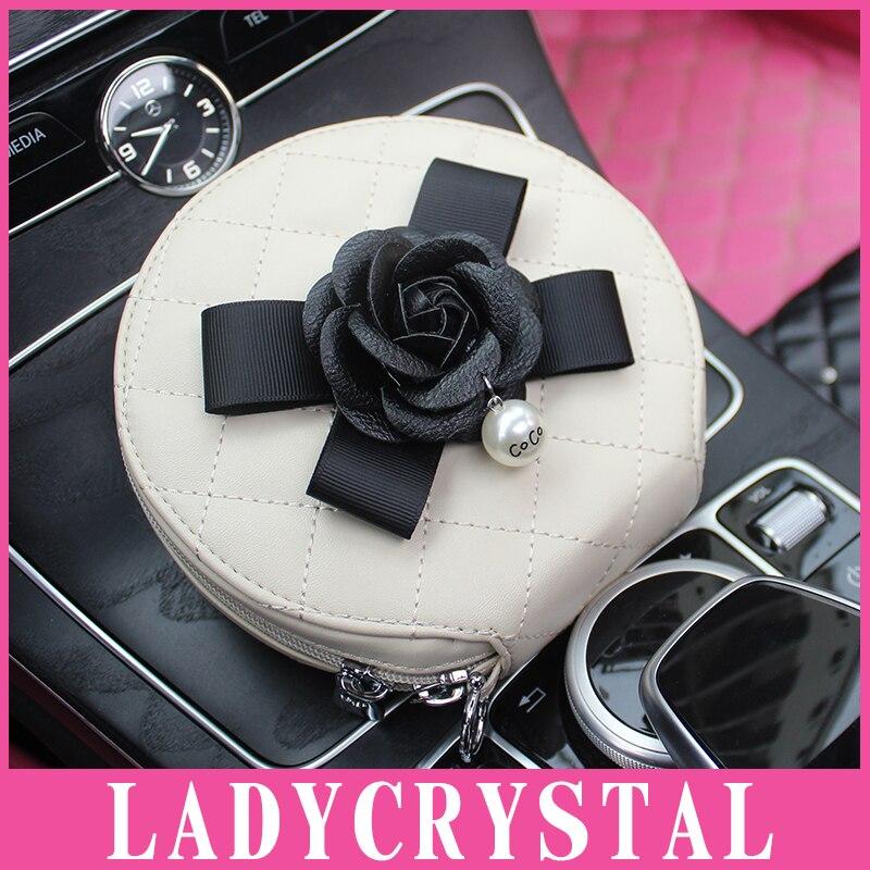 Ladycrystal 20 Disc DVD VCD DJ CD Bag Case Cute Camellia CD Disk Box Holder Storage Wallet For Car Home