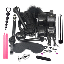 Couples Exotic Nylon BDSM Sex Bondage Set Massager Sexy Spanking Collar Lingerie Handcuffs Whip Rope Anal Vibrator SM Game