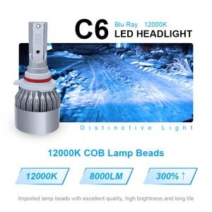 Image 2 - roadsun 12000K COB Chips C6 Car Headlight Bulbs LED H7 H4 H1 H11 9005 9006 72W 12V 8000LM Car Styling Spot Lights