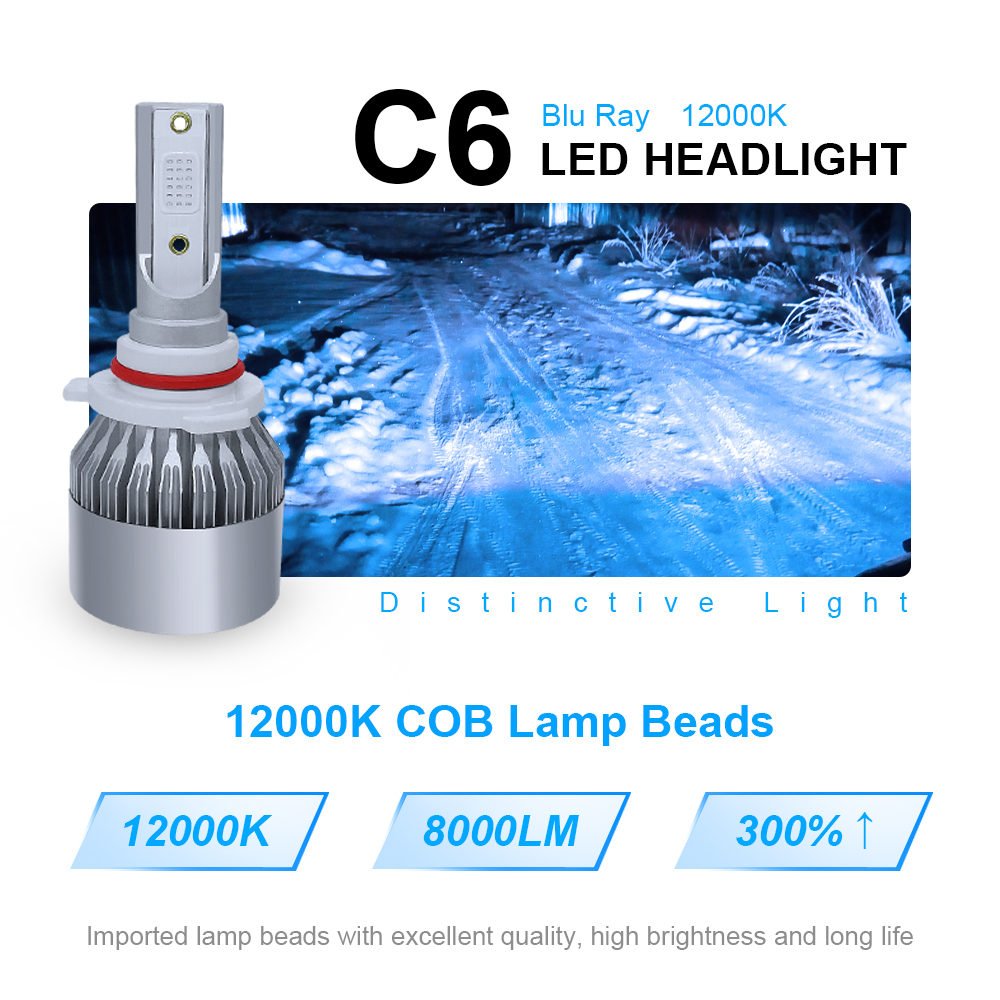 Image 2 - roadsun Car Styling Spot Light 12000K COB Chip C6 Car Headlight Bulb LED H7 H4 H1 H11 9005 9006 LED Auto Lamp Kit Blue Lighting-in Car Headlight Bulbs(LED) from Automobiles & Motorcycles
