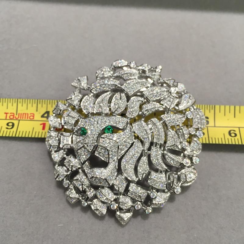 Hommes femmes bijoux tête de Lion broche bijoux résultats connecteurs Top qualité argent avec Zircon cubique livraison gratuite - 6