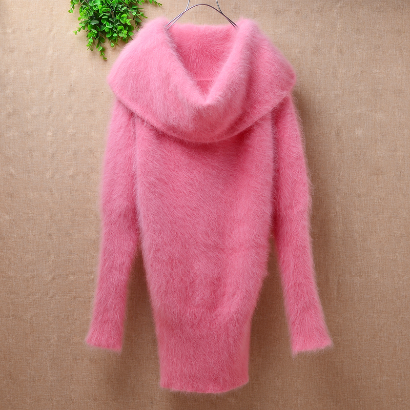 Female Fashion Long Winter Pink Warm Mink Cashmere Loose Big Turtleneck Long Sleeve Pullover Sweater Angora Fur Knitted Dress
