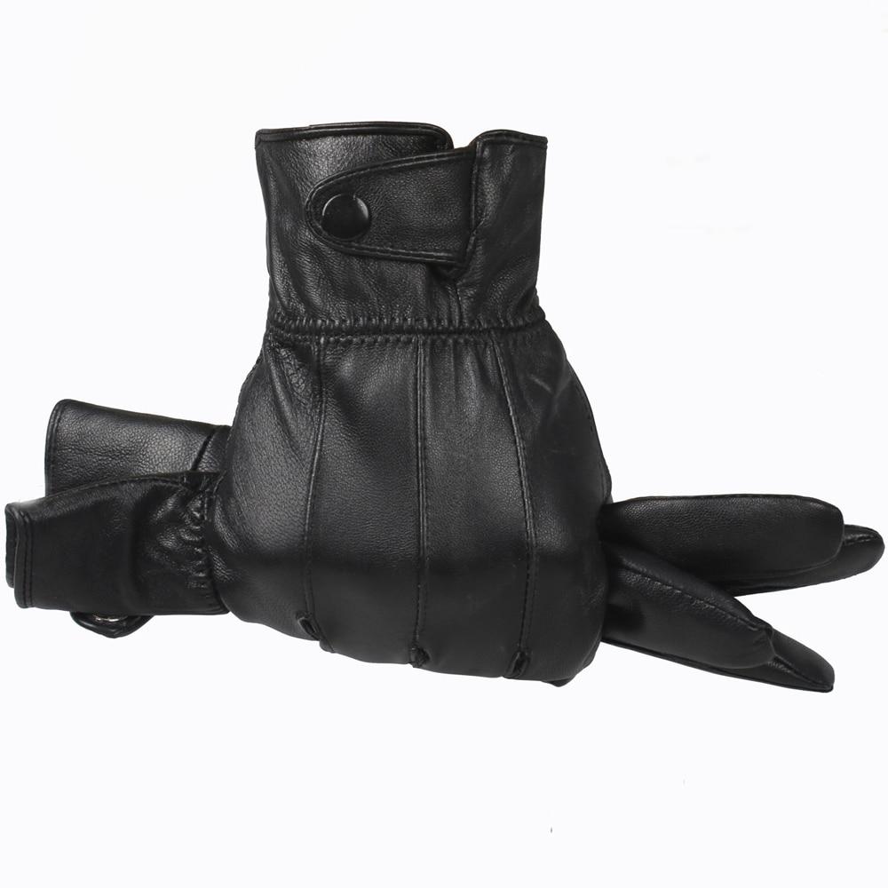 Genuine Leather Gloves Men 2015 Winter Glove High Quality Real Sheep Leather Mittens Men Genuine Sheepskin Gloves Winter YG015