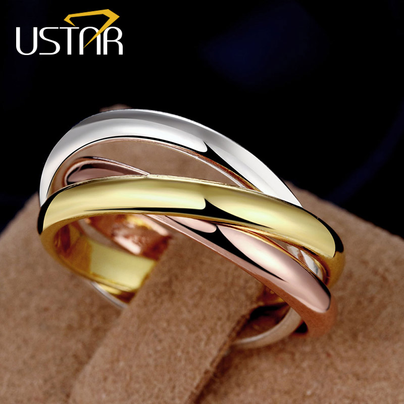 USTAR 3 pcs/set multicolor finger rings for women Jewelry silver color wedding rings female anel bague femme anillos Top quality