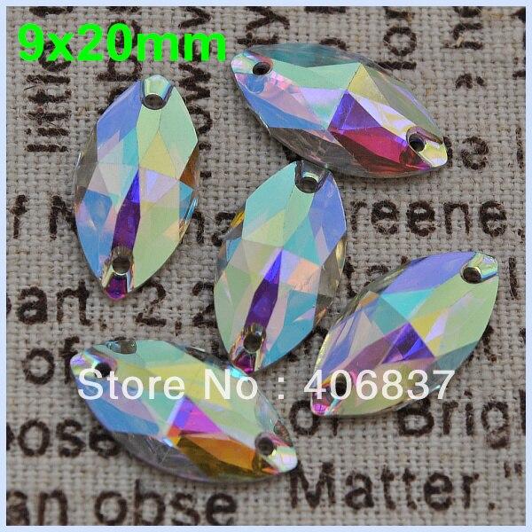 Бесплатная доставка, 100 шт./лот, 9*20 мм кристаллы AB/прозрачные AB маркиза Смола Шить на камнях плоской задней Швейные на камнях