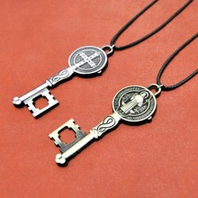 Cross key Crucifix Jesus Piece Pendant & Necklace Gold&Silver Color Metal Men Christian Jewelry Gifts Prayer